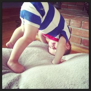 Yoga @ home - his favorite pose!